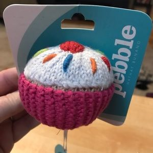 Pink cupcake baby rattle by Pebble, NWT